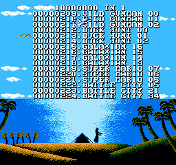 "110-in-1  <span title=""A dump of a pirated version of a game. These ROMs often have their copyright messages or company names removed or corrupted."" class=""label"">Pirated version 1</span>  - Screenshot 4/5"